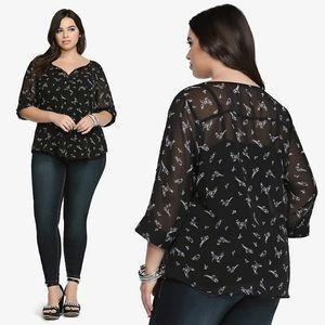 TORRID | Black Bird Print Chiffon Pullover Blouse